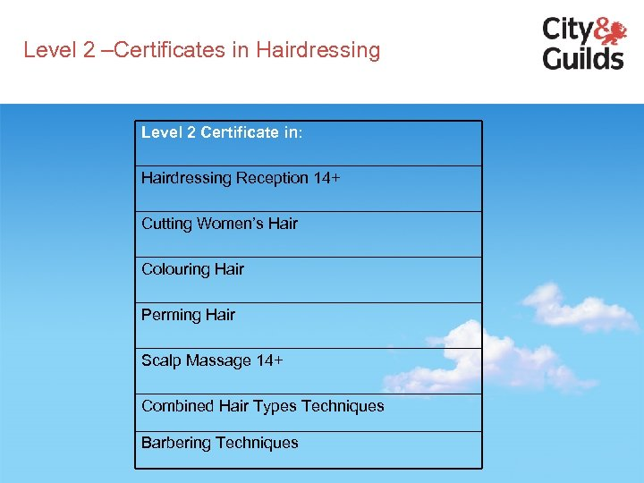 Level 2 –Certificates in Hairdressing Level 2 Certificate in: Hairdressing Reception 14+ Cutting Women's