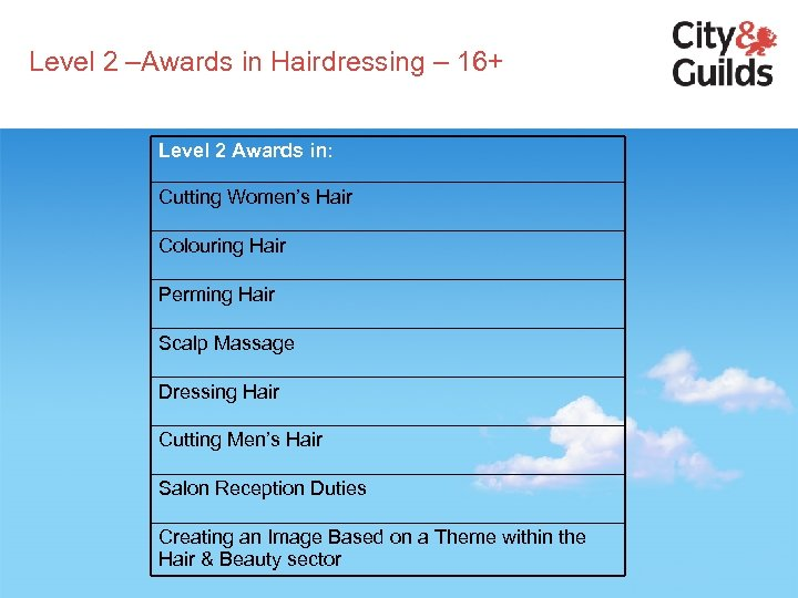 Level 2 –Awards in Hairdressing – 16+ Level 2 Awards in: Cutting Women's Hair