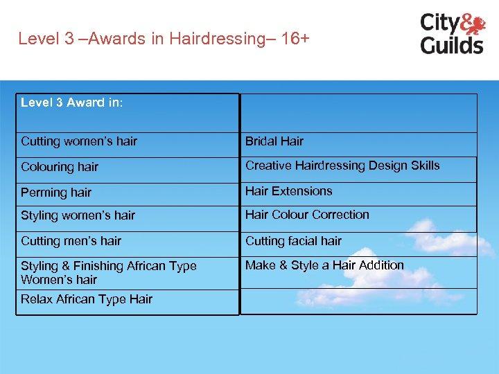 Level 3 –Awards in Hairdressing– 16+ Level 3 Award in: Cutting women's hair Bridal