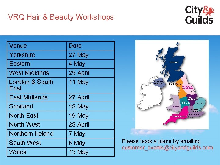 VRQ Hair & Beauty Workshops Venue Yorkshire Eastern West Midlands London & South East
