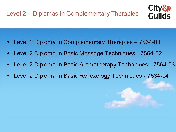 Level 2 – Diplomas in Complementary Therapies • Level 2 Diploma in Complementary Therapies