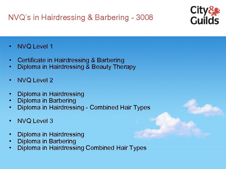 NVQ's in Hairdressing & Barbering - 3008 • NVQ Level 1 • Certificate in
