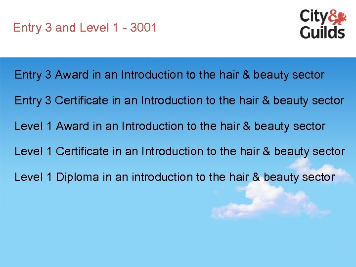Entry 3 and Level 1 - 3001 Entry 3 Award in an Introduction to