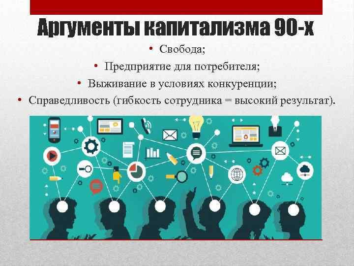 Аргументы капитализма 90 -х • Свобода; • Предприятие для потребителя; • Выживание в условиях