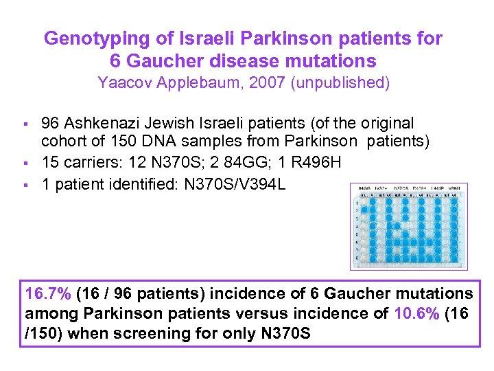 Genotyping of Israeli Parkinson patients for 6 Gaucher disease mutations Yaacov Applebaum, 2007 (unpublished)