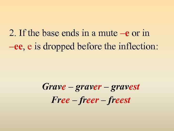 2. If the base ends in a mute –e or in –ee, e is