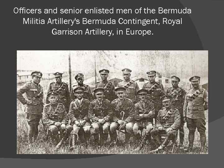 Officers and senior enlisted men of the Bermuda Militia Artillery's Bermuda Contingent, Royal Garrison