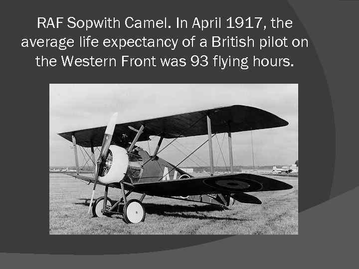 RAF Sopwith Camel. In April 1917, the average life expectancy of a British pilot