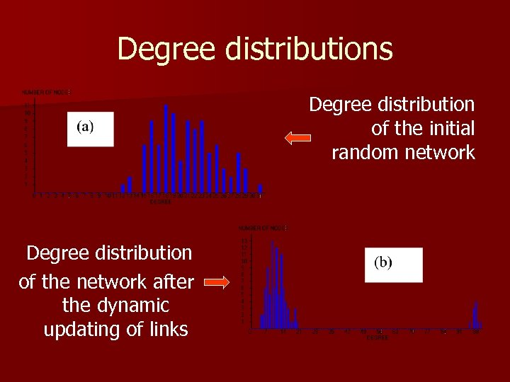 Degree distributions Degree distribution of the initial random network Degree distribution of the network