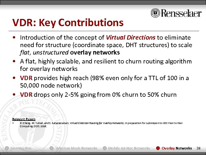 VDR: Key Contributions • Introduction of the concept of Virtual Directions to eliminate need
