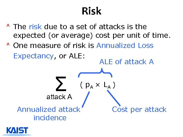 Risk ^ The risk due to a set of attacks is the expected (or