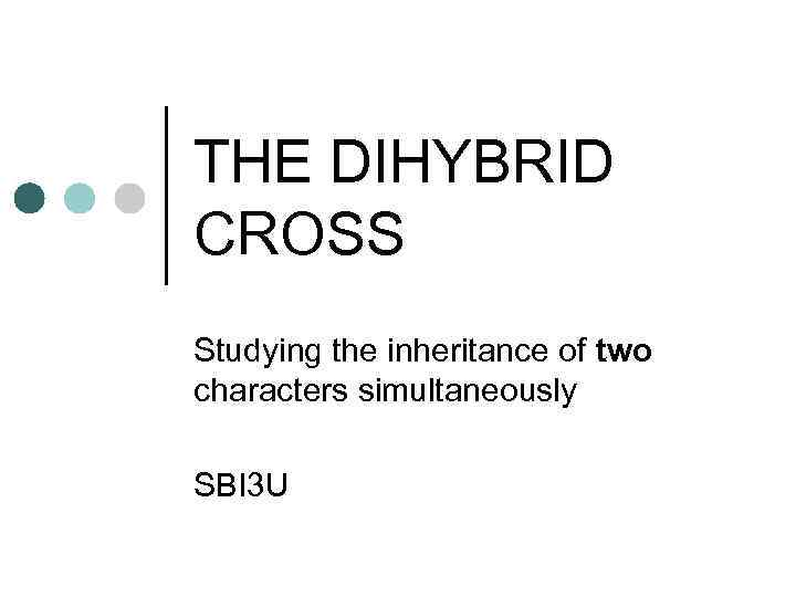 THE DIHYBRID CROSS Studying the inheritance of two characters simultaneously SBI 3 U