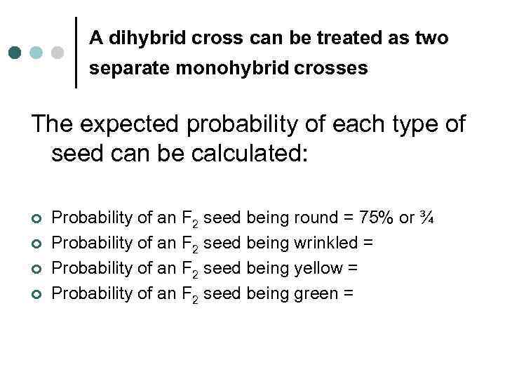 A dihybrid cross can be treated as two separate monohybrid crosses The expected probability