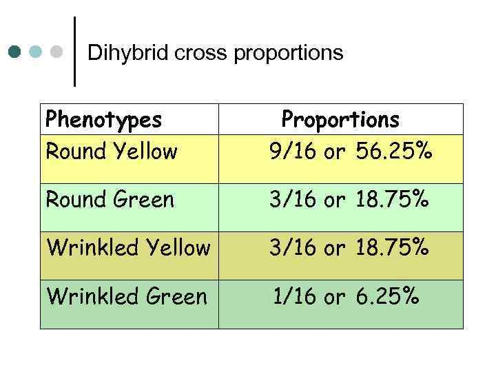 Dihybrid cross proportions Phenotypes Round Yellow Proportions 9/16 or 56. 25% Round Green 3/16