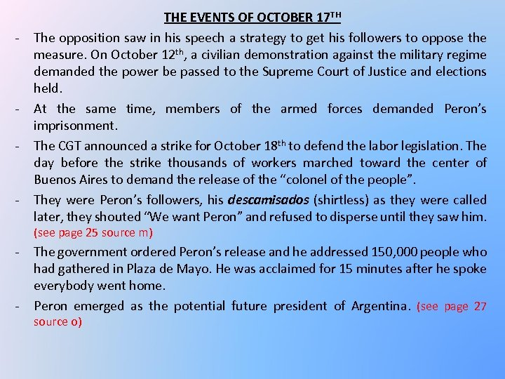 - - - THE EVENTS OF OCTOBER 17 TH The opposition saw in his