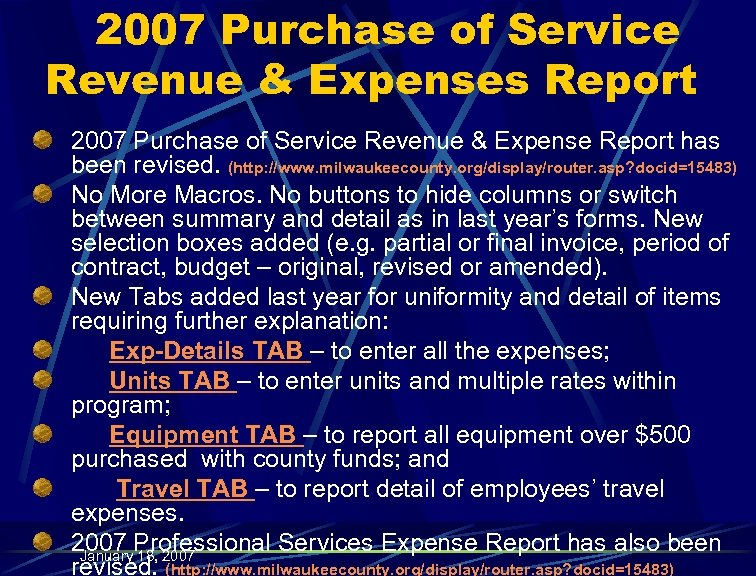 2007 Purchase of Service Revenue & Expenses Report 2007 Purchase of Service Revenue &