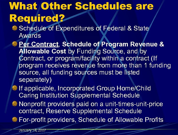 What Other Schedules are Required? Schedule of Expenditures of Federal & State Awards Per