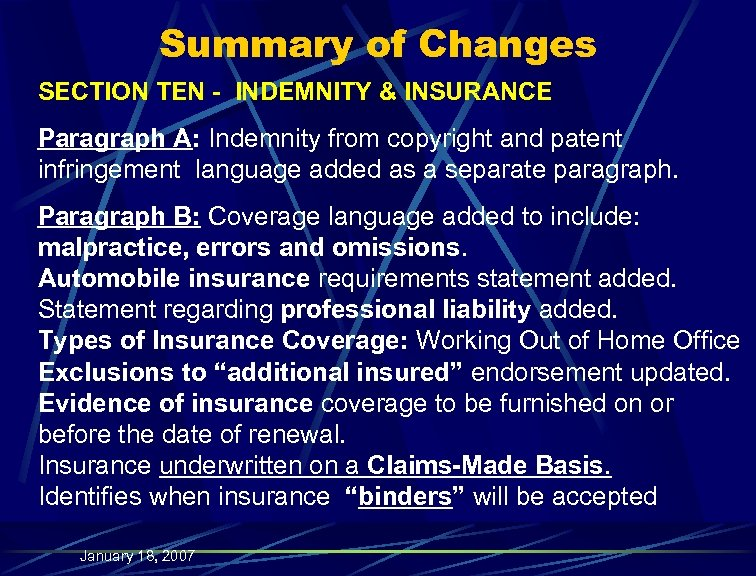 Summary of Changes SECTION TEN - INDEMNITY & INSURANCE Paragraph A: Indemnity from copyright