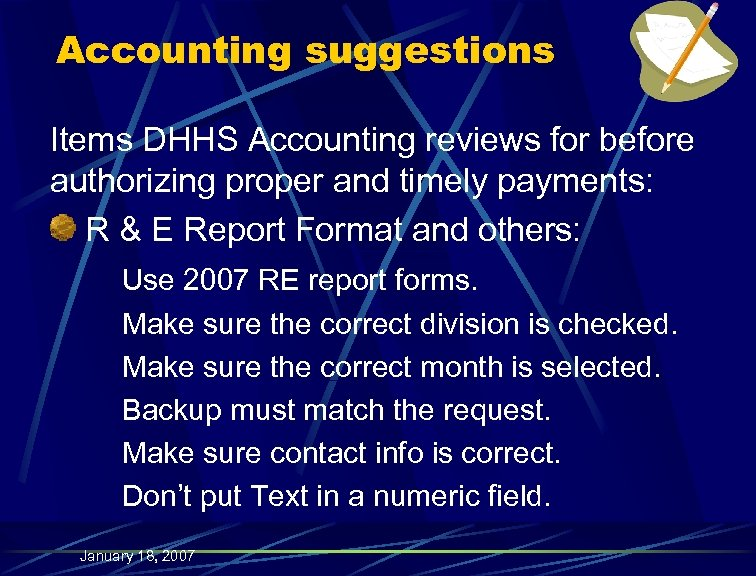 Accounting suggestions Items DHHS Accounting reviews for before authorizing proper and timely payments: R