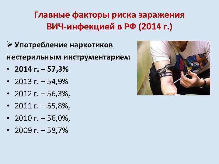 Главные факторы риска заражения ВИЧ-инфекцией в РФ (2014 г. ) Ø Употребление наркотиков нестерильным