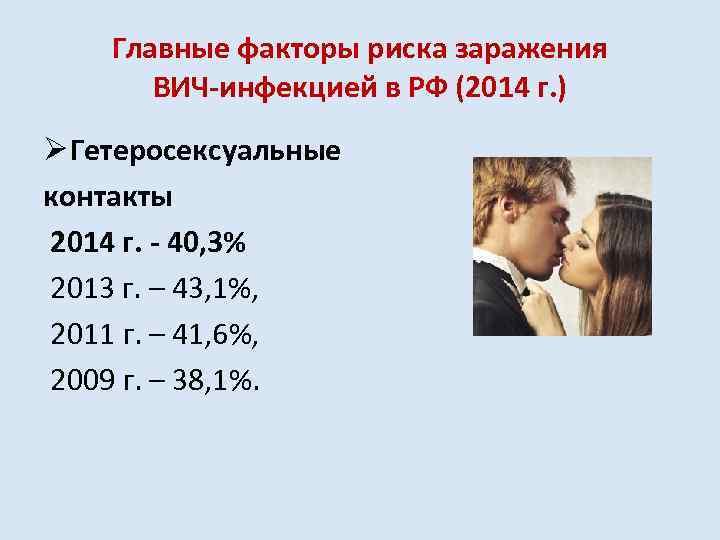 Главные факторы риска заражения ВИЧ-инфекцией в РФ (2014 г. ) Ø Гетеросексуальные контакты 2014