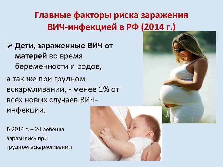 Главные факторы риска заражения ВИЧ-инфекцией в РФ (2014 г. ) Ø Дети, зараженные ВИЧ