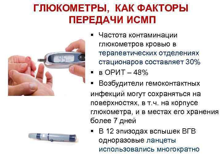 ГЛЮКОМЕТРЫ, КАК ФАКТОРЫ ПЕРЕДАЧИ ИСМП § Частота контаминации глюкометров кровью в терапевтических отделениях стационаров