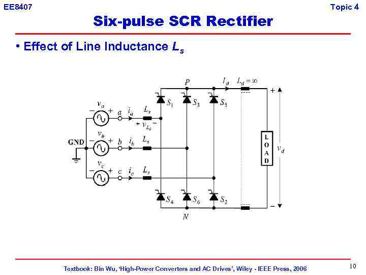 EE 8407 Six-pulse SCR Rectifier Topic 4 • Effect of Line Inductance Ls Textbook: