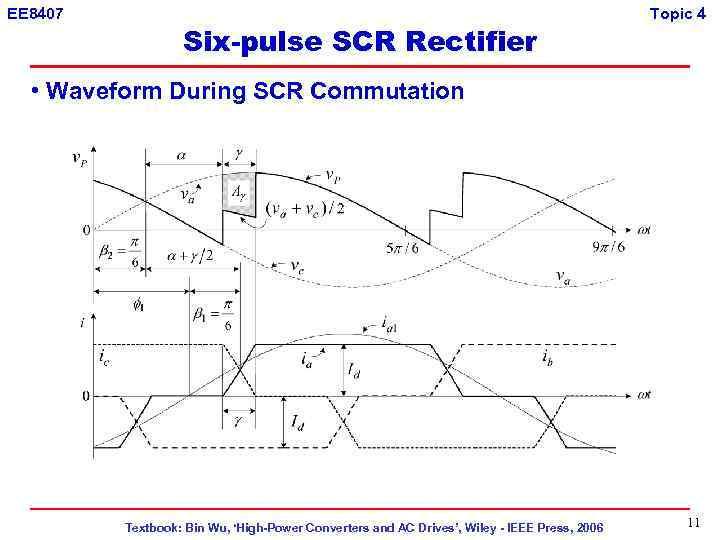 EE 8407 Six-pulse SCR Rectifier Topic 4 • Waveform During SCR Commutation Textbook: Bin