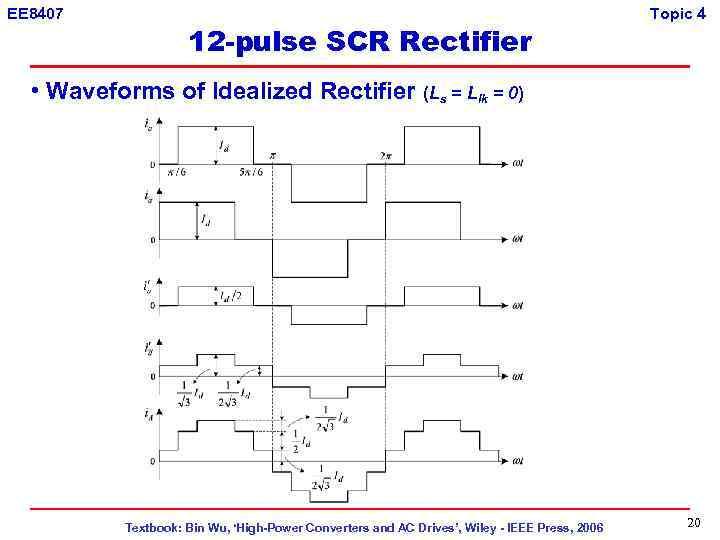 EE 8407 12 -pulse SCR Rectifier Topic 4 • Waveforms of Idealized Rectifier (Ls