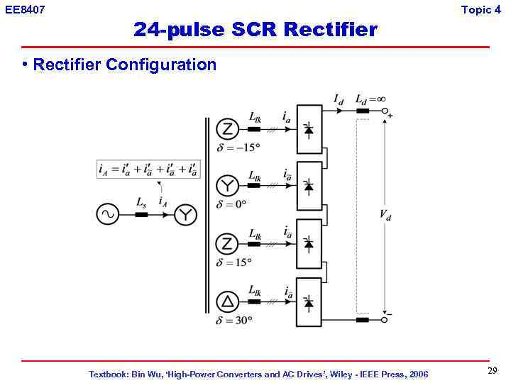 EE 8407 24 -pulse SCR Rectifier Topic 4 • Rectifier Configuration Textbook: Bin Wu,
