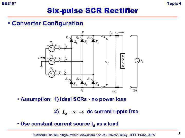 EE 8407 Six-pulse SCR Rectifier Topic 4 • Converter Configuration • Assumption: 1) Ideal