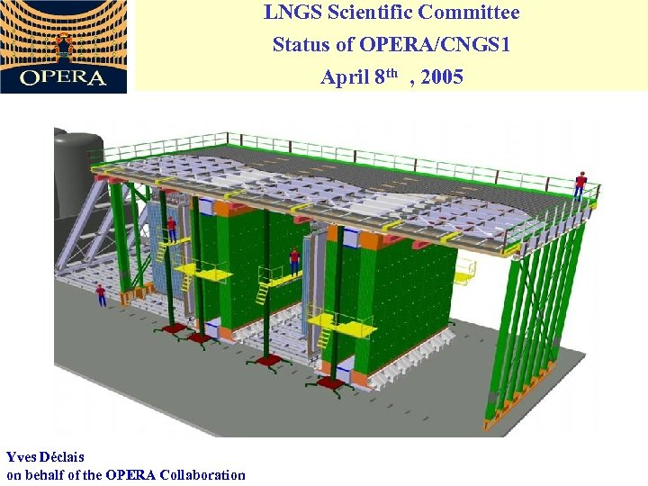 LNGS Scientific Committee Status of OPERA/CNGS 1 April 8 th , 2005 Yves Déclais
