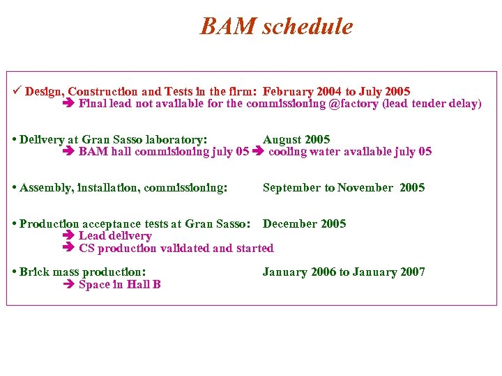BAM schedule ü Design, Construction and Tests in the firm: February 2004 to July