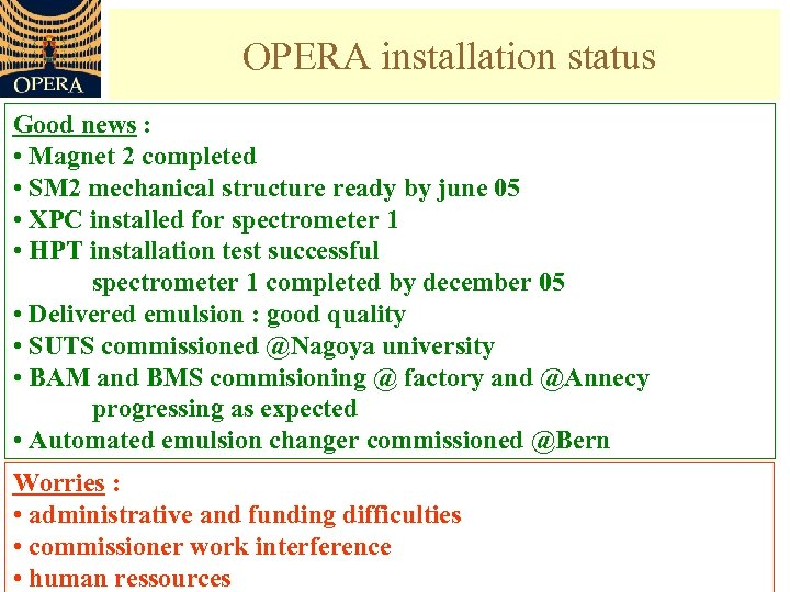 OPERA installation status Good news : • Magnet 2 completed • SM 2 mechanical