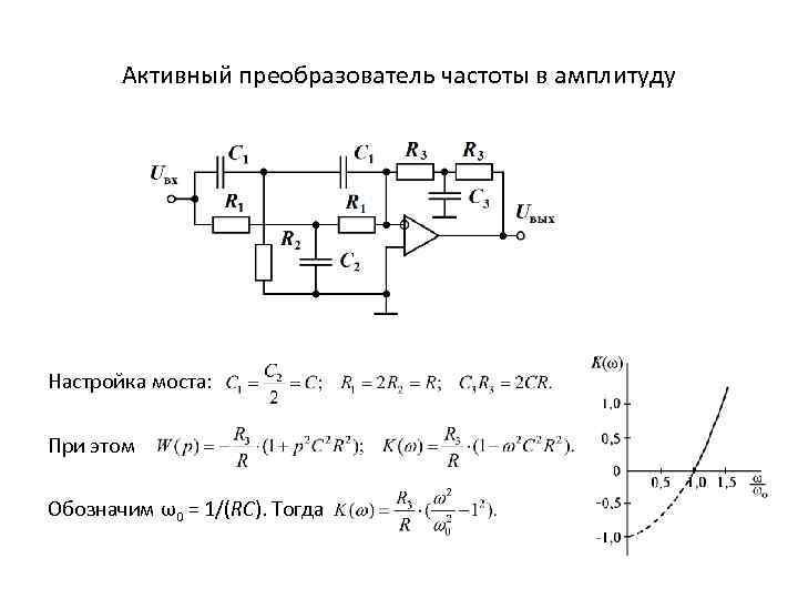 Активный преобразователь частоты в амплитуду Настройка моста: При этом Обозначим ω0 = 1/(RC). Тогда
