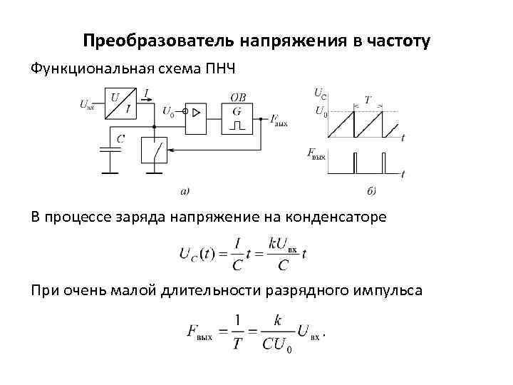 Преобразователь напряжения в частоту Функциональная схема ПНЧ В процессе заряда напряжение на конденсаторе При