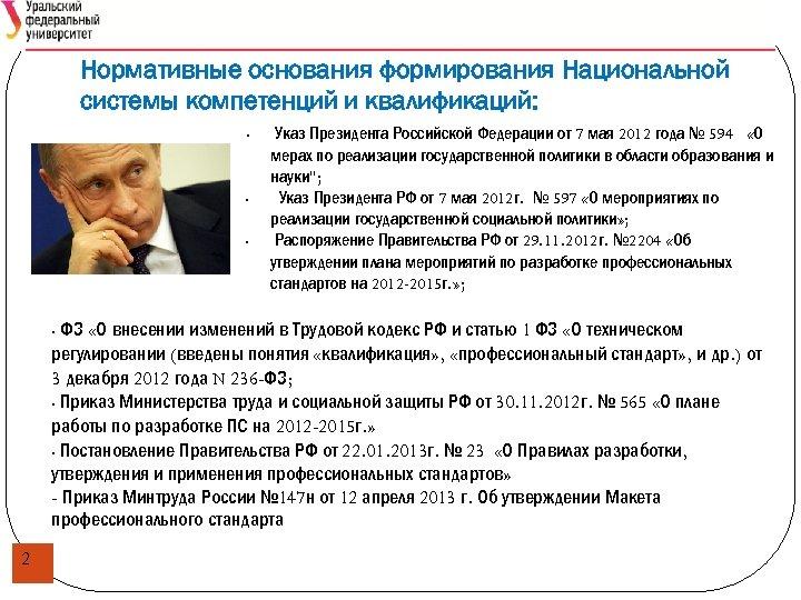 Нормативные основания формирования Национальной системы компетенций и квалификаций: • • • Указ Президента Российской