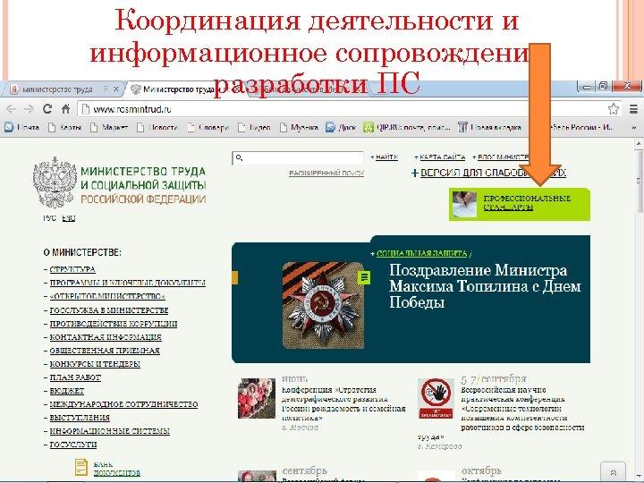 Координация деятельности и информационное сопровождение разработки ПС 12. 5. 13