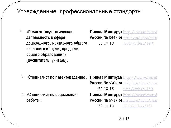 Утвержденные профессиональные стандарты 1. 2. 3. «Педагог (педагогическая Приказ Минтруда http: //www. rosmi деятельность