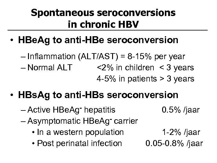 Spontaneous seroconversions in chronic HBV • HBe. Ag to anti-HBe seroconversion – Inflammation (ALT/AST)