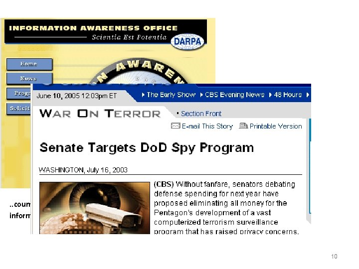 . . counter asymmetric threats by achieving total information awareness… 10
