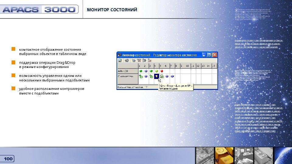 МОНИТОР СОСТОЯНИЙ Монитор состояний компактное отображение состояния выбранных объектов в табличном виде поддержка операции