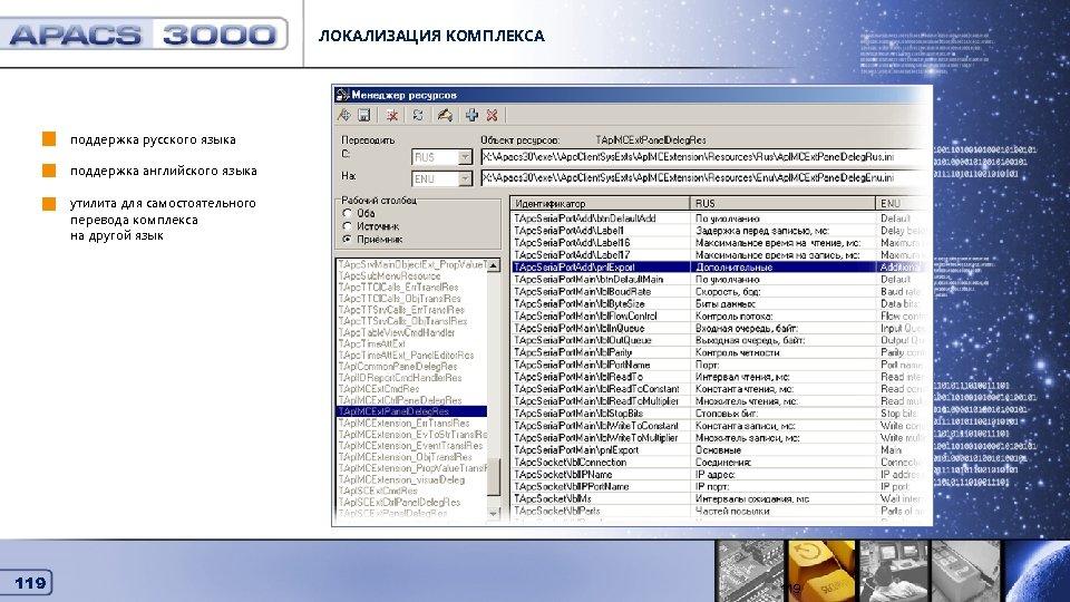 ЛОКАЛИЗАЦИЯ КОМПЛЕКСА Локализация комплекса поддержка русского языка поддержка английского языка утилита для самостоятельного перевода