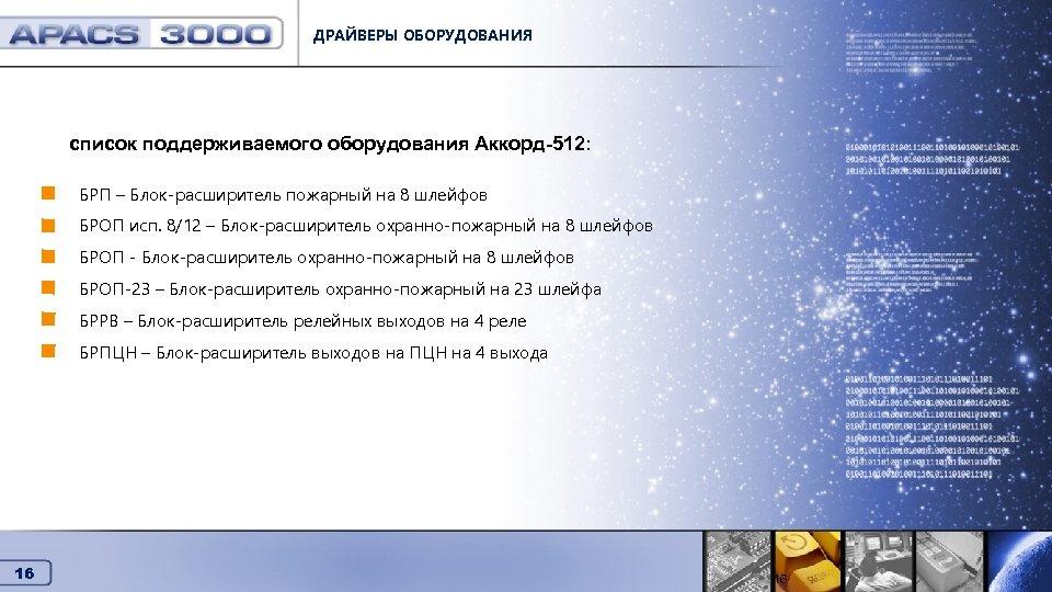 ДРАЙВЕРЫ ОБОРУДОВАНИЯ Драйверы оборудования список поддерживаемого оборудования Аккорд-512: БРП – Блок-расширитель пожарный на 8