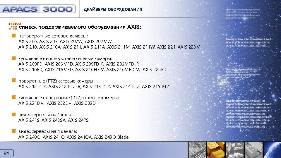 ДРАЙВЕРЫ ОБОРУДОВАНИЯ список поддерживаемого оборудования AXIS: Драйверы оборудования неповоротные сетевые камеры: AXIS 206, AXIS
