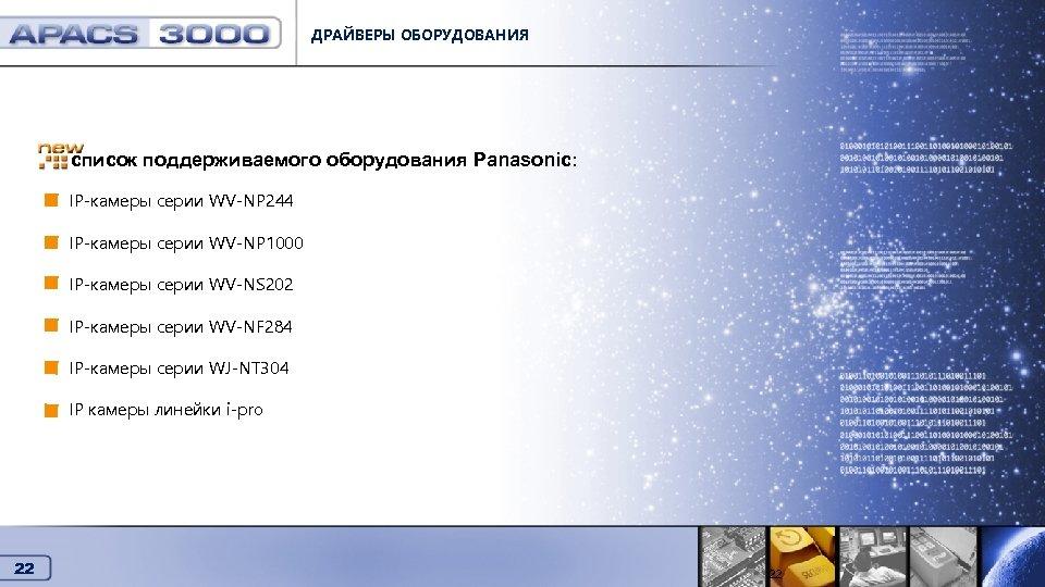 ДРАЙВЕРЫ ОБОРУДОВАНИЯ Драйверы оборудования список поддерживаемого оборудования Panasonic: IP-камеры серии WV-NP 244 IP-камеры серии