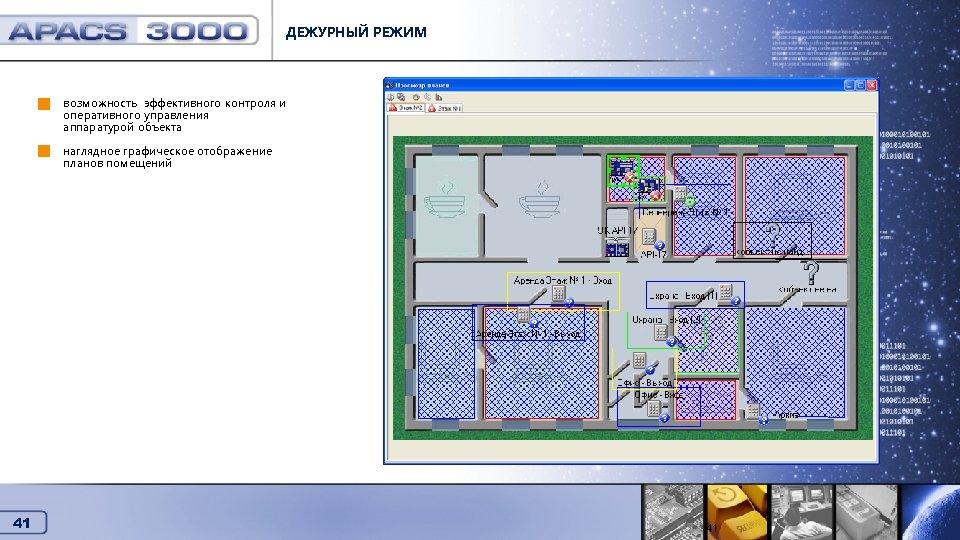 ДЕЖУРНЫЙ РЕЖИМ возможность эффективного контроля и оперативного управления аппаратурой объекта Дежурный режим наглядное графическое