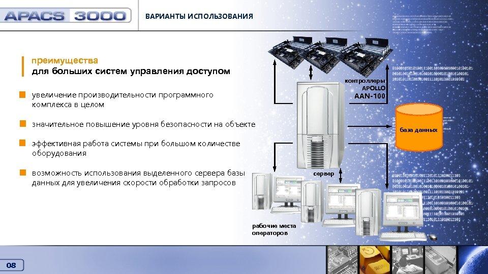 ВАРИАНТЫ ИСПОЛЬЗОВАНИЯ Варианты использования преимущества для больших систем управления доступом контроллеры APOLLO увеличение производительности