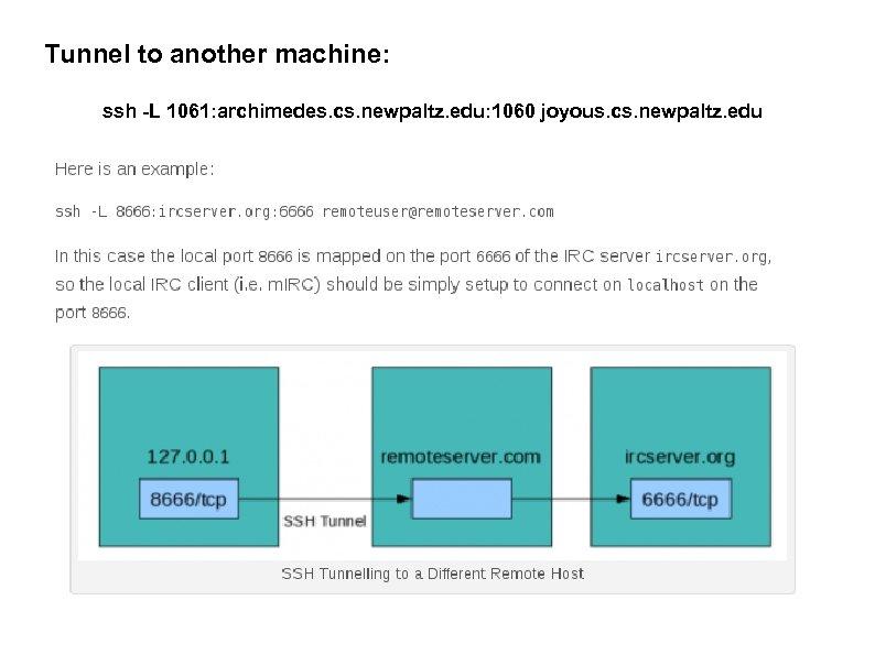 Tunnel to another machine: ssh -L 1061: archimedes. cs. newpaltz. edu: 1060 joyous. cs.